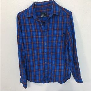 Marmot men's Size S Plaid Button Front Shirt blue